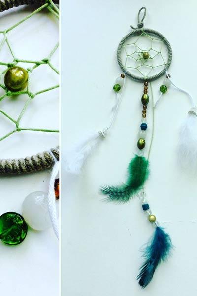 idées cadeaux et décorations attrape rêves vert et blanc
