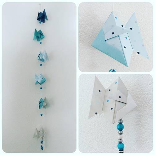 idées cadeaux et décorations guirlande origami poissons
