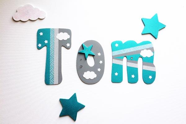 lettres en bois prénoms personnalisés garçons